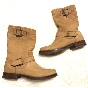 FRYE buckle strap tan leather soft suede boots